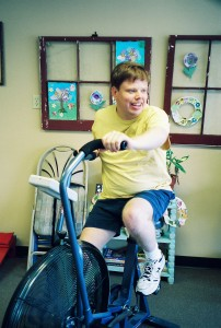 Aaron on Exercise Bike